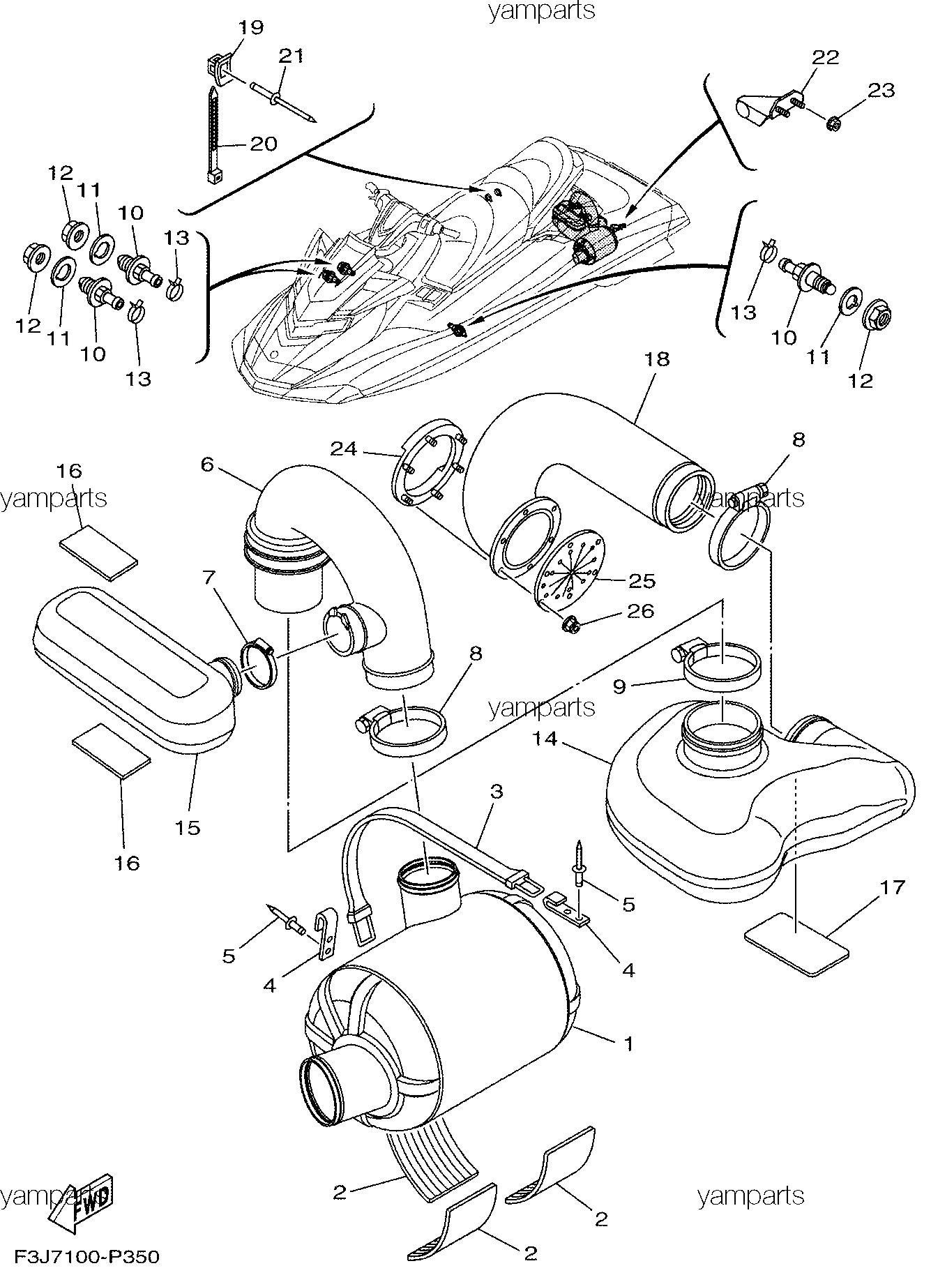 Детали выхлопа, схема 3