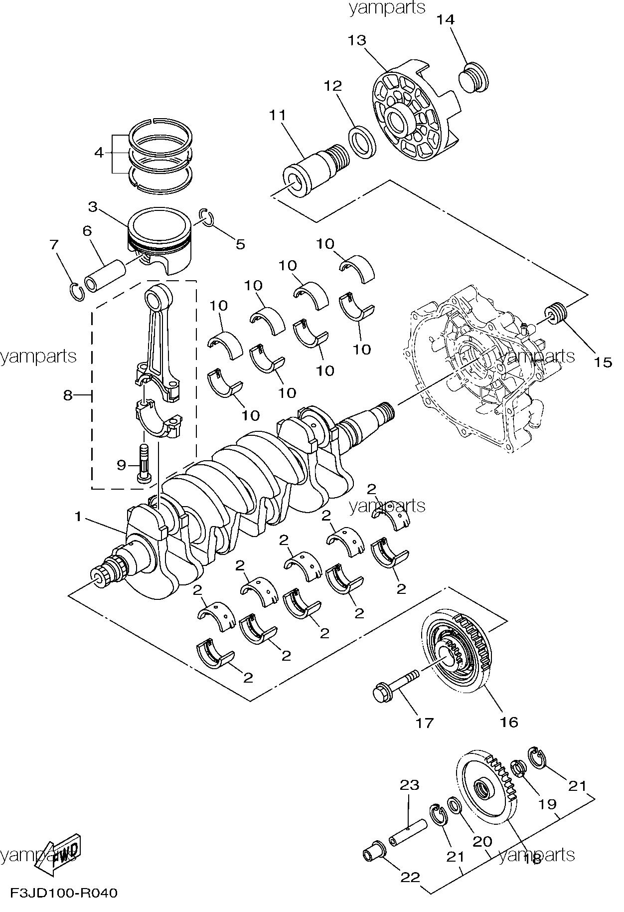 Вал коленчатый, поршни, обгонная муфта чарджера