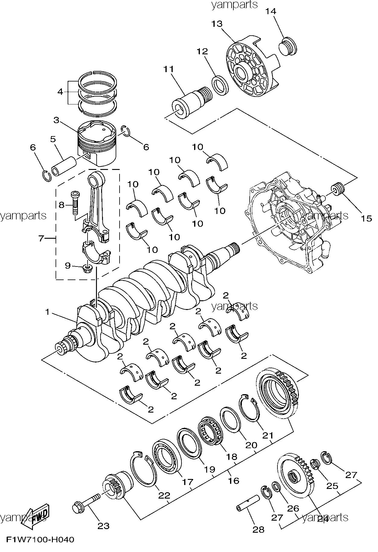 Коленвал, поршни