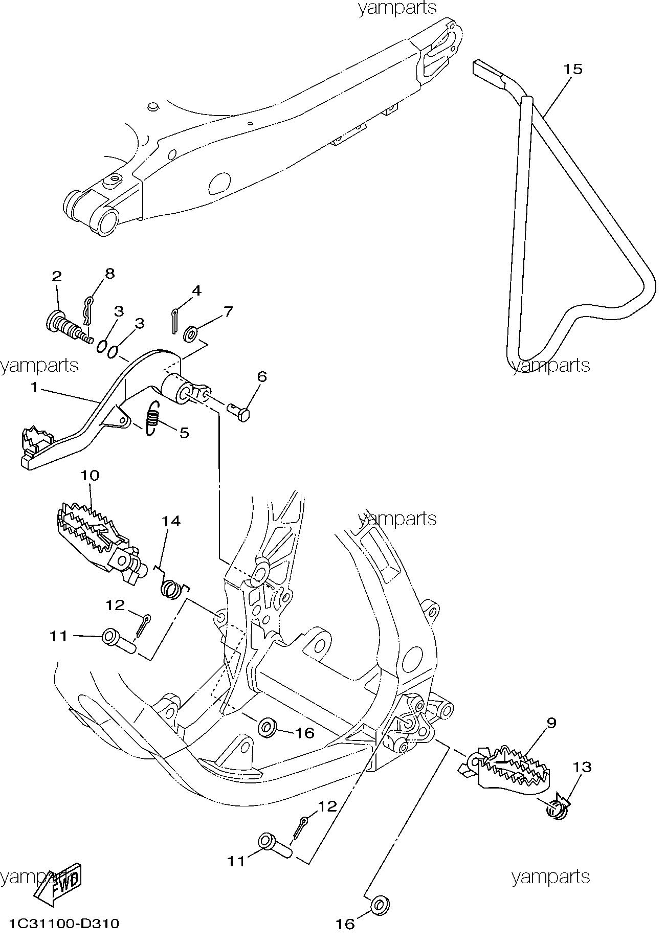 Подножки, подставка, педаль тормоза